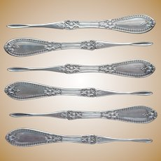 Victorian Nut Picks Antique Silver Plated Set 6 Unknown Pattern Holmes Booth Haydens