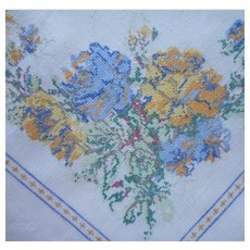 1920s Linen Tablecloth Hand Embroidered Tiny Cross Stitching Vintage 86 x 70