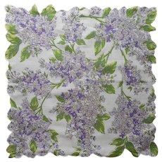 Vintage Hankie Lilacs Print Unused Vintage Cotton Printed Handkerchief