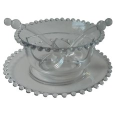 Imperial Candlewick Glass Divided Sauce Relish Bowl Under Plate 2 Ladle Vintage Ladles