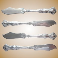 Vintage 1904 Antique Grapes Silver Plated 4 Individual Butter Spreader Knives