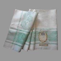 1920s Czech Linen Damask Tablecloth Jadeite Green Vintage Square