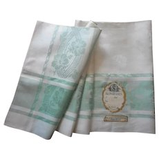 1920s Czech Linen Damask Tablecloth Jadeite Green Vintage Square