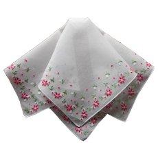 Vintage Hankie Hand Embroidered Pink Green White Flowers Handkerchief