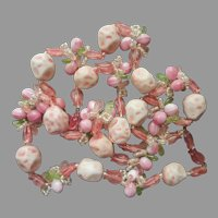 Pink Plastic and Glass Beads Necklace ca 1960 Vintage Summer