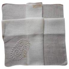 Monogram F Madeira hankie Handkerchief Vintage Unused Label