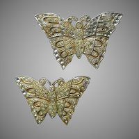 1920s Sew On Dress Embellishments Pot Metal Butterflies Rhinestone Vintage