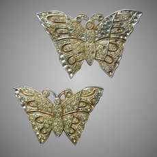1920s Sew On Dress Embellishments Pot Metal Butterflies Rhinestone Vintage