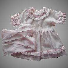 1920s Childs Dress Pink Voile Ruffles Sash Vintage