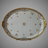 French Limoges Tray Antique Pink Gold Green Garlands China Blakeman and Henderson