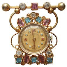 Cyma Watch Gold Filled Hanging Brooch Vintage Pink Blue Stones Original Box Tavannes