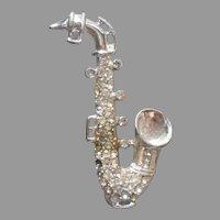 Weiss Saxophone Pin Vintage Rhinestone Signed