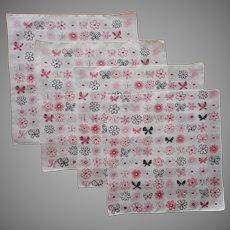1950s Hankies Vintage Unused Hankie Pink Black White Print Butterflies