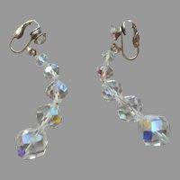Vintage Dangle Clip Earrings AB Cut Crystal Beads