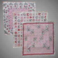 1950s Hankies Vintage Unused Hankie Pink Black Print Birds Birdcages Roses Butterflies