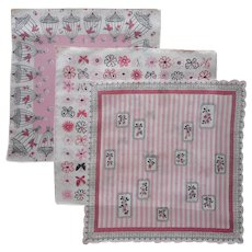 1950s Hankies Vintage Unused Hankie Pink Black Print Birds Birdcages Roses Butterflies