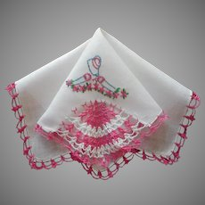 Southern Belle Vintage Hankie Pink Crocheted Lace Hand Embroidery Unused