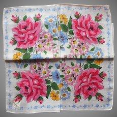Vintage Hankie Unused Printed Bright Pink Roses Burmel Label