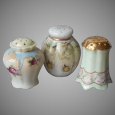 Antique Hand Painted China Shakers Salt Pepper
