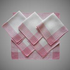 Napkins 1920s Pink Green Plaid Borders Vintage White Linen Set 6