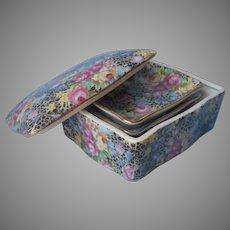 Chintz China Box 3 Pin Dishes Ashtrays Vintage Occupied Japan