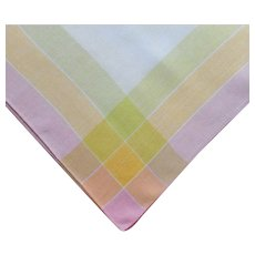 1920s tablecloth Sherbet Colors Plaid Border Linen Square TLC