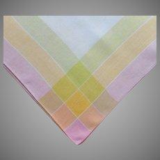 1920s tablecloth Sherbet Colors Plaid Border Linen Square TLC