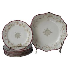 Cake Plates Berry Bowl Dessert Antique China Magenta Rims