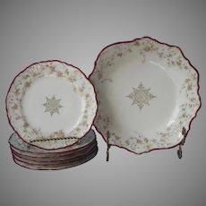 Cake Plates Berry Bowl Dessert Antique China Magenta Rims