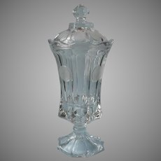 Fostoria Coin Tall Candy Urn With Lid Crystal Clear Vintage