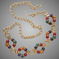 1980s Belt Vintage Jewel Tone Large Beads Gold Tone Chain