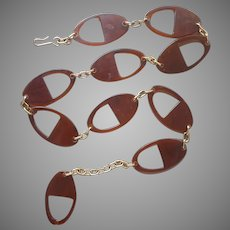 Vintage Belt Faux Tortoiseshell Plastic Links Gold Tone Chain