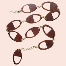 ca 1970 Belt Faux Tortoiseshell Plastic Links Gold Tone Chain Vintage
