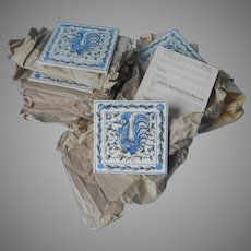 Vintage Portugal Hand Painted Tiles 16 Outeiro Agueda Blue White 4 Inch Rooster