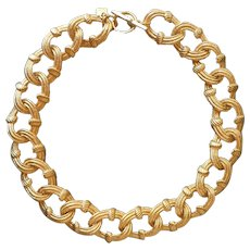 9283a0393 Anne Klein Necklace Big Texture Links Collar Toggle