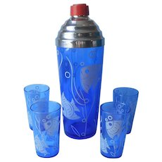 Hazel Atlas Cocktail Shaker Glasses Set Cobalt Blue White Fish