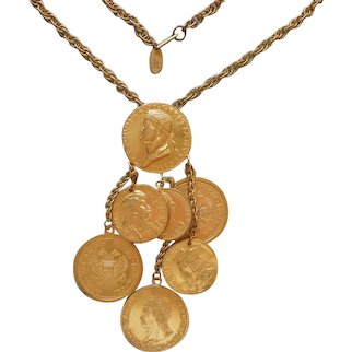 Miriam Haskell Coins Necklace Vintage Dangle Cascade Pendant On Chain