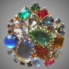 Vintage 1950s Pin Lots Of Colors Glass Faux Gems Cut Molded