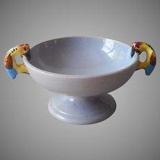 Parrots Italy Majolica Pottery Dish Vintage Lavender Fruit