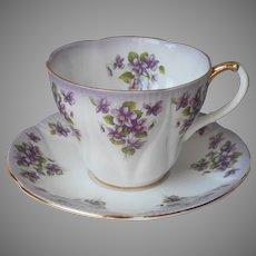 Royal Albert Jennie Cup Saucer Vintage Dainty Dina Series Purple Violets