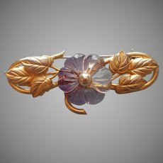 1920s Glass Flower Faux Carved Amethyst Pin Vintage Purple