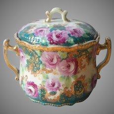 Nippon Era Cracker Biscuit Jar Antique Hand Painted Magenta Roses Teal Gold