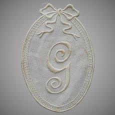 Monogram G Antique Applique Unused To Sew On Towel Etc