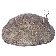 1930s Clutch Beaded Purse Vintage Dainty Mocha Glass Pearl Beads