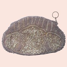 1930s Clutch Beaded Purse Vintage Dainty Mocha Glass Pearl Beads