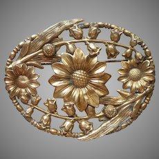 Sash Pin Antique Brass Calendula Campanula Flowers