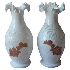 Pair Victorian Vases White Bristol Glass Hand Painted Antique Ruffled Crimped Rims