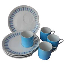 ca 1960 Porcelain Snack Set Vintage Japan Lavender Turquoise Blue Cups Plates