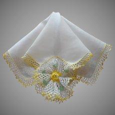 Vintage Hankie Yellow Crocheted Lace Fancy Corner Flower Linen Unused