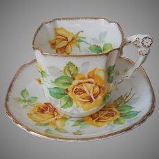 Royal Rose Yellow Royal Stafford Cup Saucer Square Shape Vintage English
